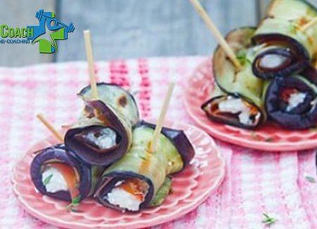 Een gezonde snack: aubergine rolletjes